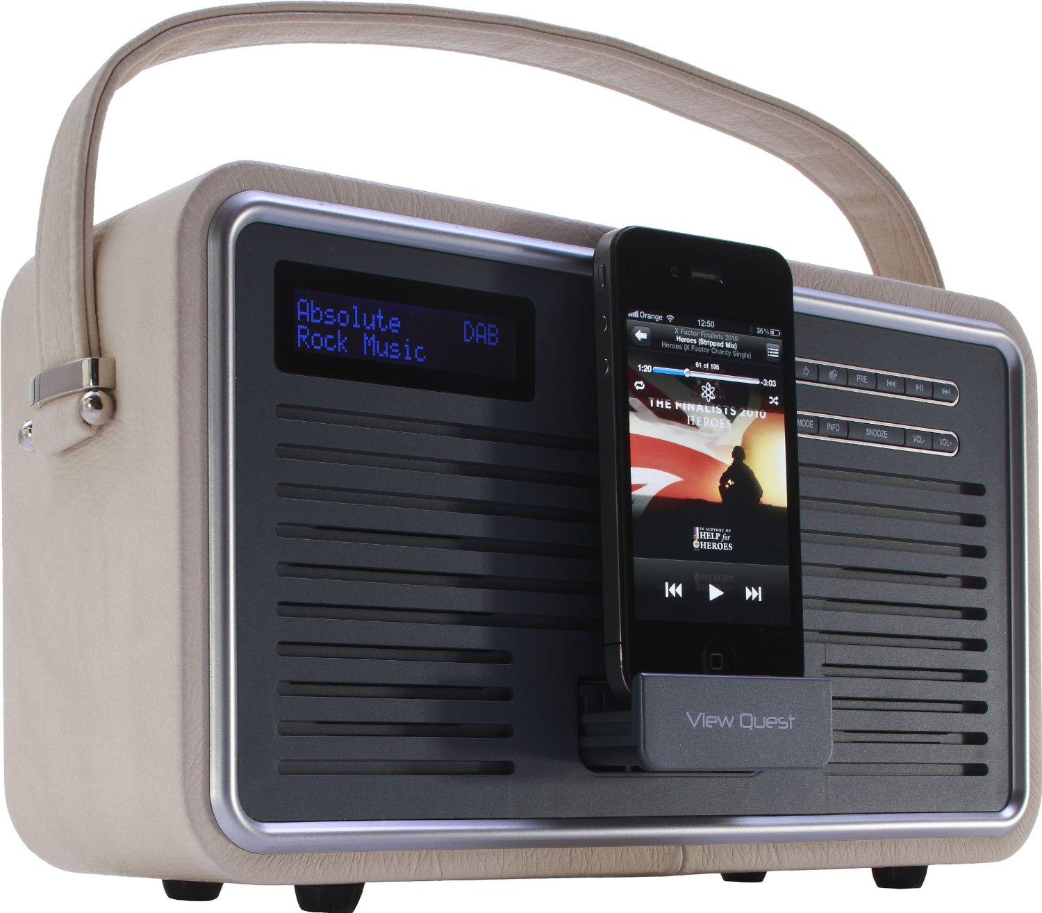 view quest retro portable dab fm radio with ipod iphone docking station cream. Black Bedroom Furniture Sets. Home Design Ideas