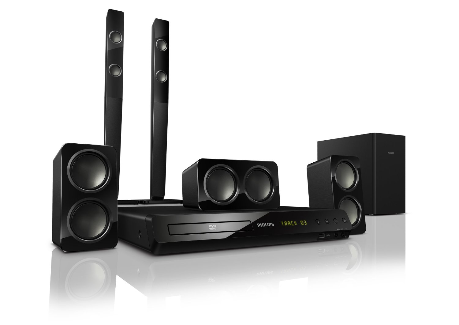 philips hts3538 5 1 dvd player surround sound system tower. Black Bedroom Furniture Sets. Home Design Ideas
