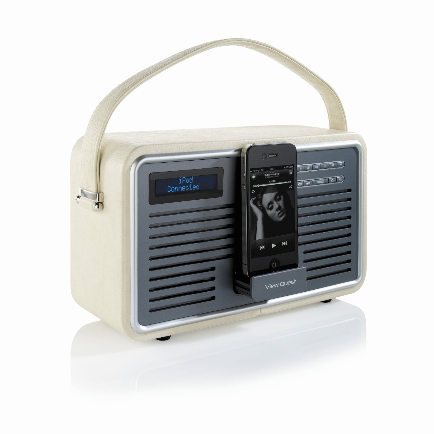 view quest retro portable dab fm radio with ipod iphone. Black Bedroom Furniture Sets. Home Design Ideas