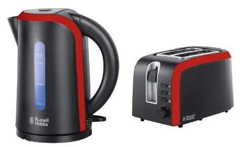 Russell Hobbs Desire Matching Kettle 19600 & 2 Slice Toaster 19610 Black & Red Enlarged Preview