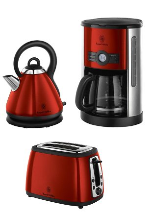 Russell Hobbs Heritage Kettle & 2-Slice Toaster & Coffee Maker Metallic Red eBay