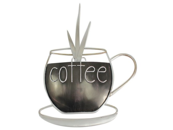 Metal plaque kitchen coffee cup wall art ornament home for Mural coffee