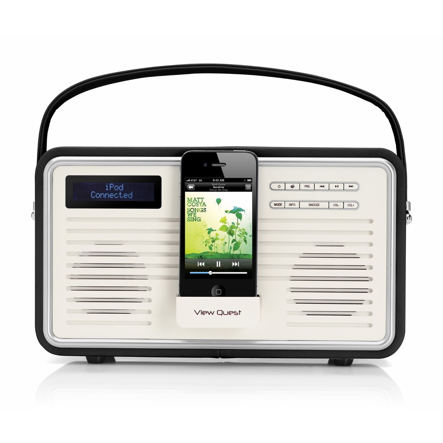 view quest retro portable dab fm radio with ipod iphone docking station black ebay. Black Bedroom Furniture Sets. Home Design Ideas