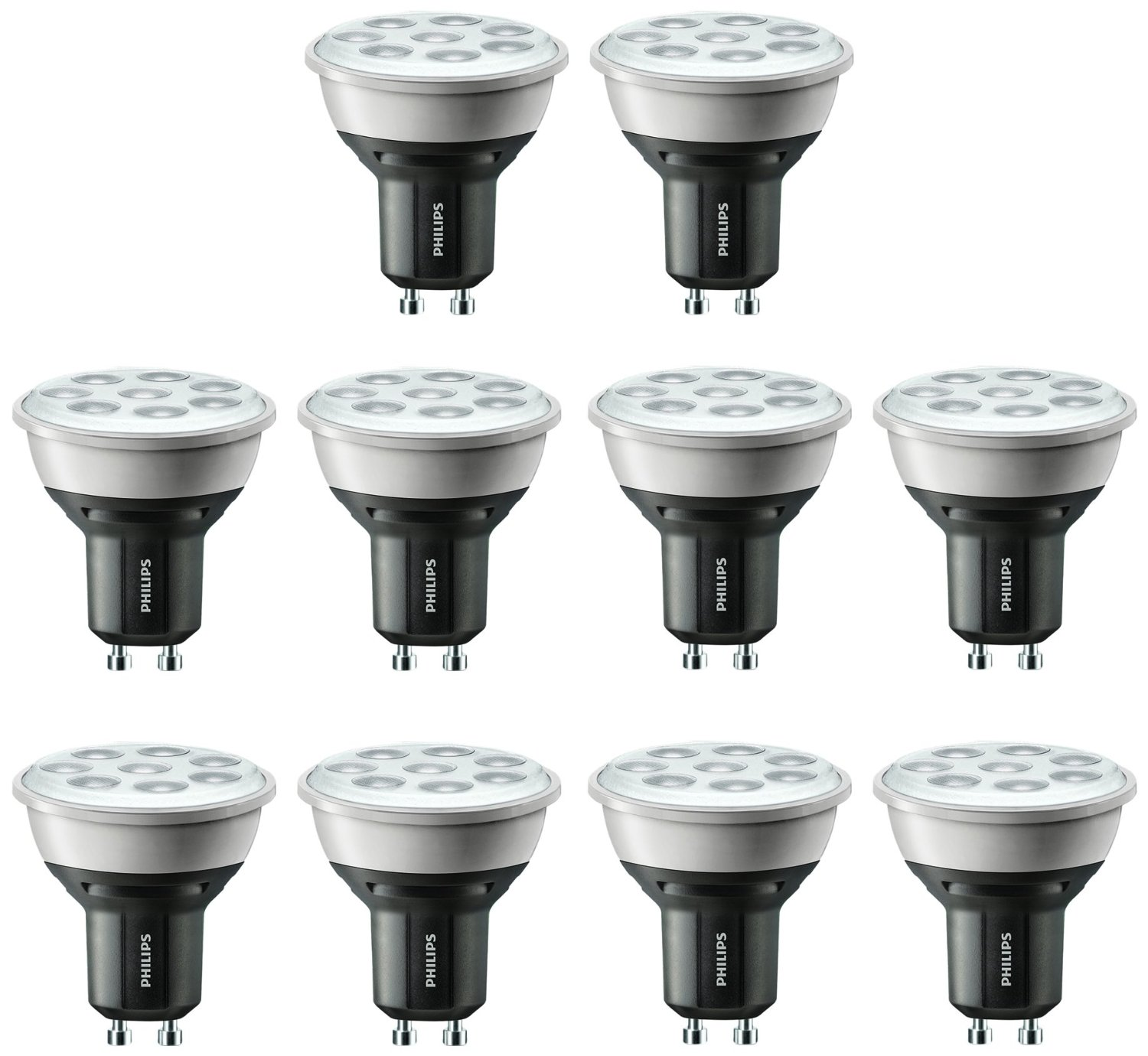 10x philips gu10 5 3w 50w equiv mv master led spot 2700k. Black Bedroom Furniture Sets. Home Design Ideas