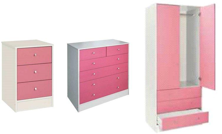 Malibu 3 Piece Bedroom Set Wardrobe Drawer Chest Bedside