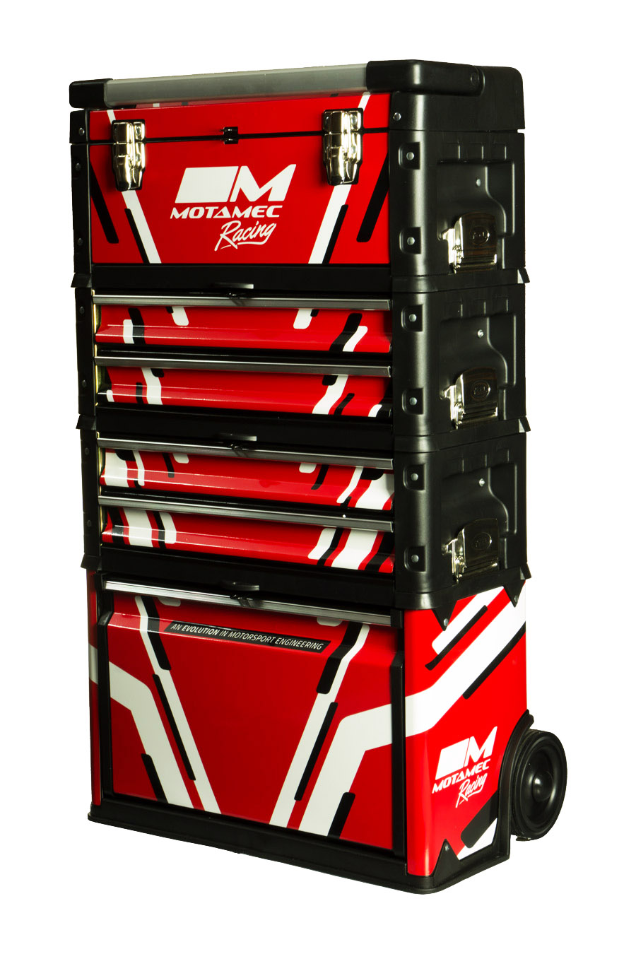Motamec Racing Red Modular Tool Box Trolley Mobile Cart