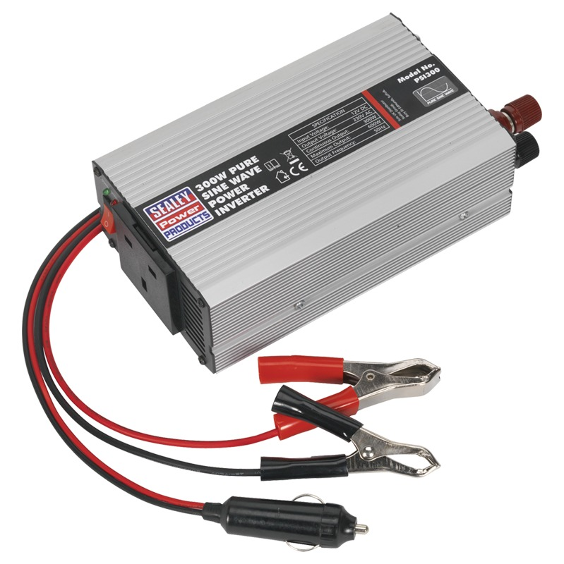 Sealey Power Inverter Pure Sine Wave 300W 12V DC 230V 50Hz PSI300 ...