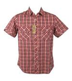 Nickelson Mens Fashion Shirt Short Sleeves Red Check