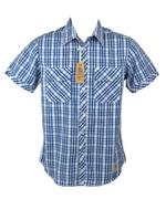 Nickelson Mens Fashion Shirt Short Sleeves Blue Check