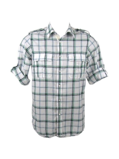 Ben Sherman Shirt Green L/S 'Laundered' Mod Check Mens Enlarged Preview