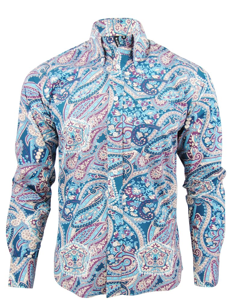 mens relco paisley shirt l s button down collar 2 cols