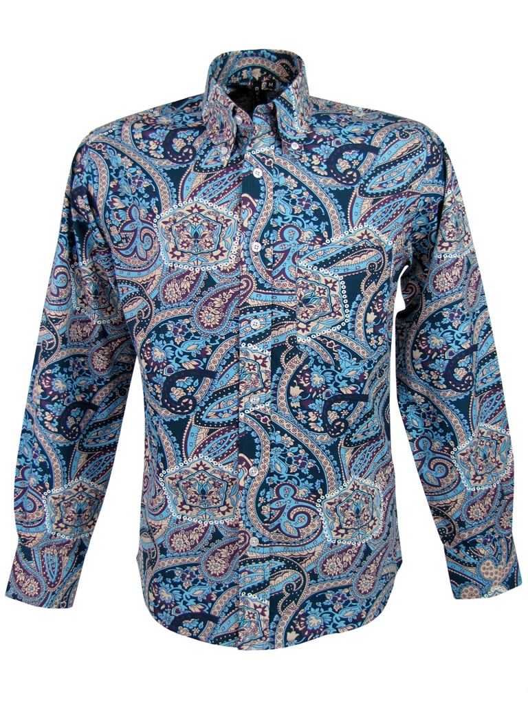 mens relco paisley shirt l s button down collar 2 cols ebay