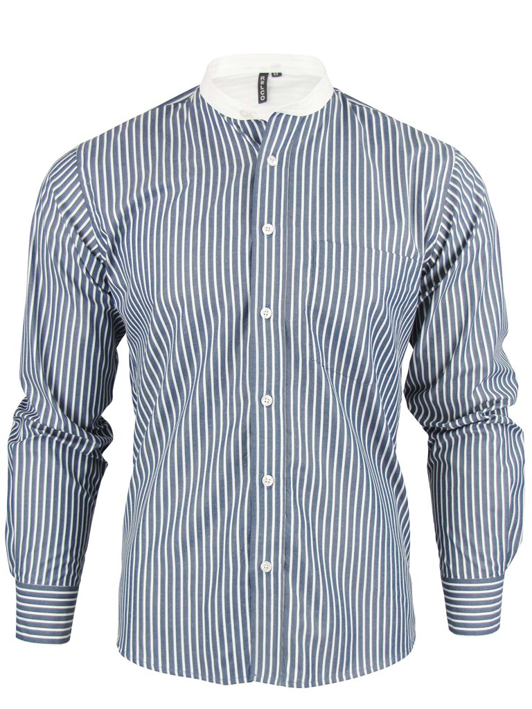 Mens long sleeved grandad collar mod retro shirt by relco Mens grandad collar shirt