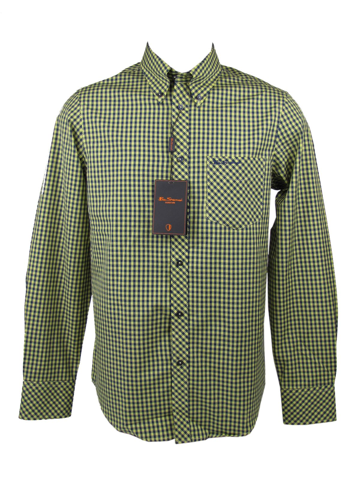 Mens ben sherman shirt wiltshire l s yellow gingham check for Mens yellow gingham shirt