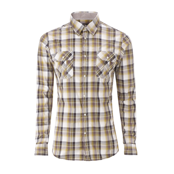 Ben Sherman Shirt Yellow L/S 'Laundered' Mod Check Mens Enlarged Preview