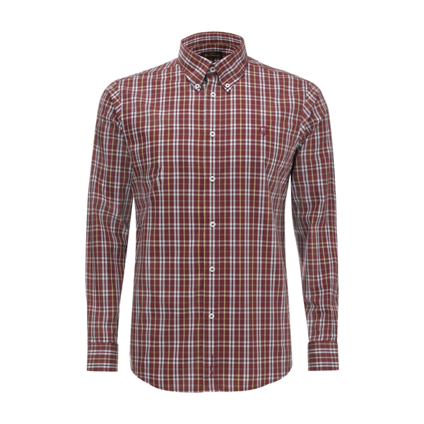 Mens Ben Sherman Shirt Red Check L/S Button Down Collar Enlarged Preview