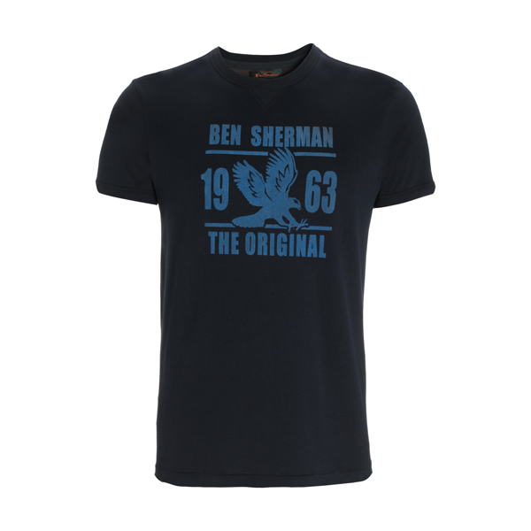 Ben Sherman T-Shirt Mens Navy Blue with Eagle Logo Enlarged Preview