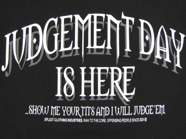 Mens T-Shirt Xplicit Funny Rude 'Judgement Day' BNWT Enlarged Preview