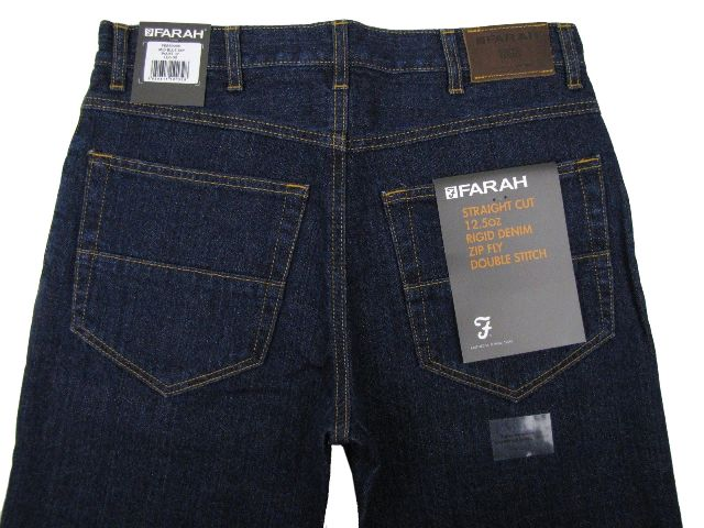 Mens-Farah-Jeans-12-Oz-Denim-Straight-Cut-Zip-Fly