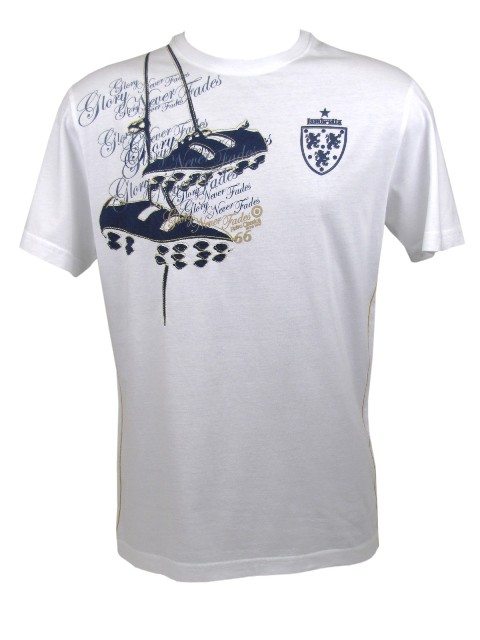 Mens Lambretta T-Shirt White Retro Football Boots World Cup Enlarged Preview