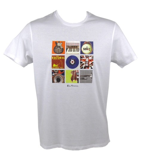 Mens Ben Sherman T-Shirt 'Instruments' White Mod Rock Enlarged Preview
