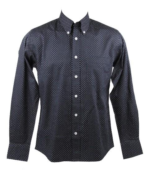 Mens Retro Dot Shirt L S Button Down Collar Navy Blue Ebay