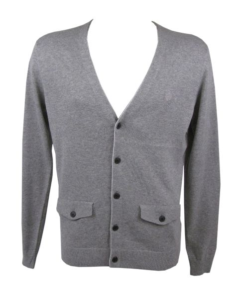 Mens Ben Sherman Knitted Cardigan/ Jumper Light Grey Enlarged Preview