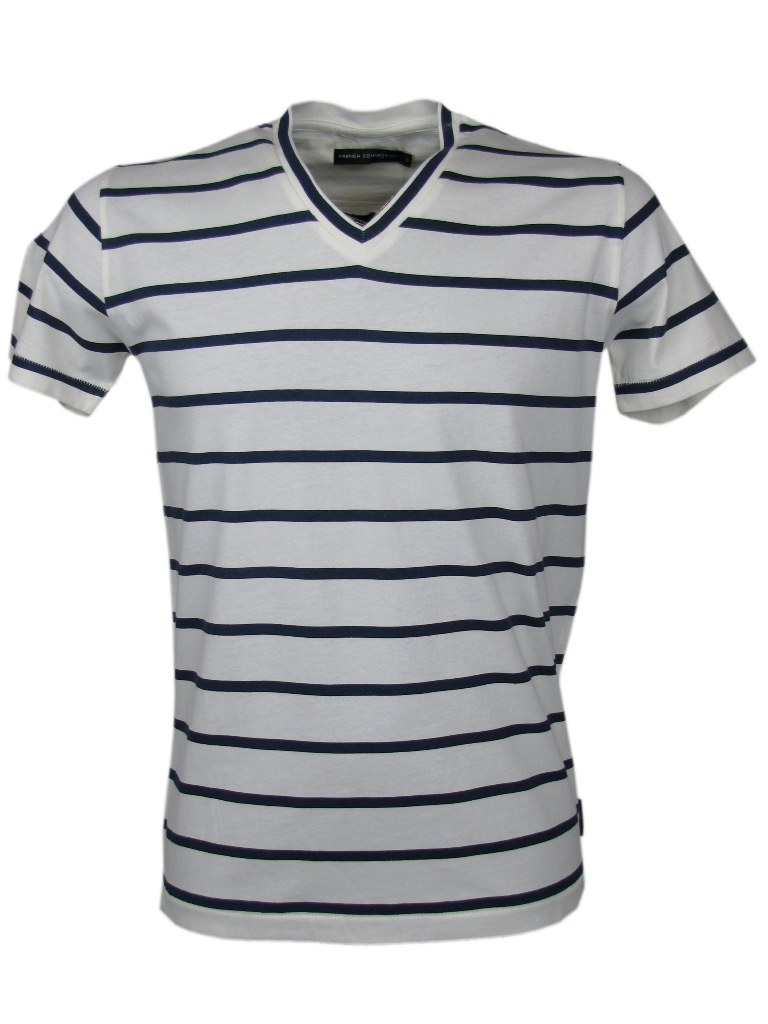 mens french connection fcuk striped v neck t shirt ebay. Black Bedroom Furniture Sets. Home Design Ideas