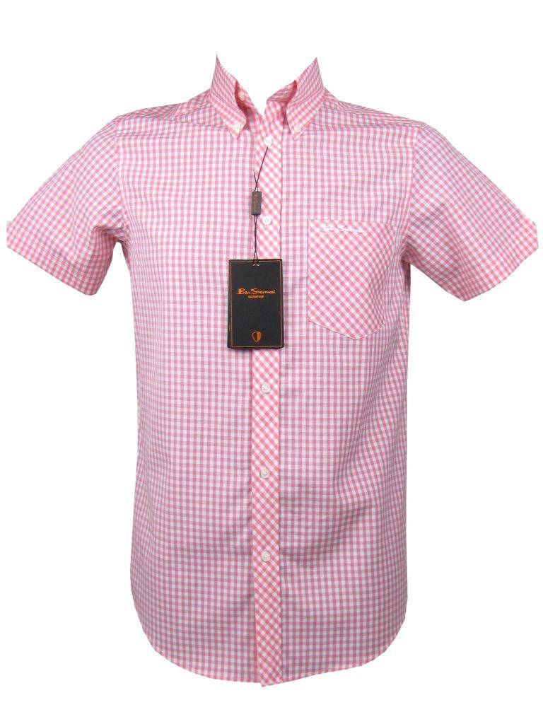 Ben Sherman Shirt S S Mod Style Pink Gingham Check Ebay