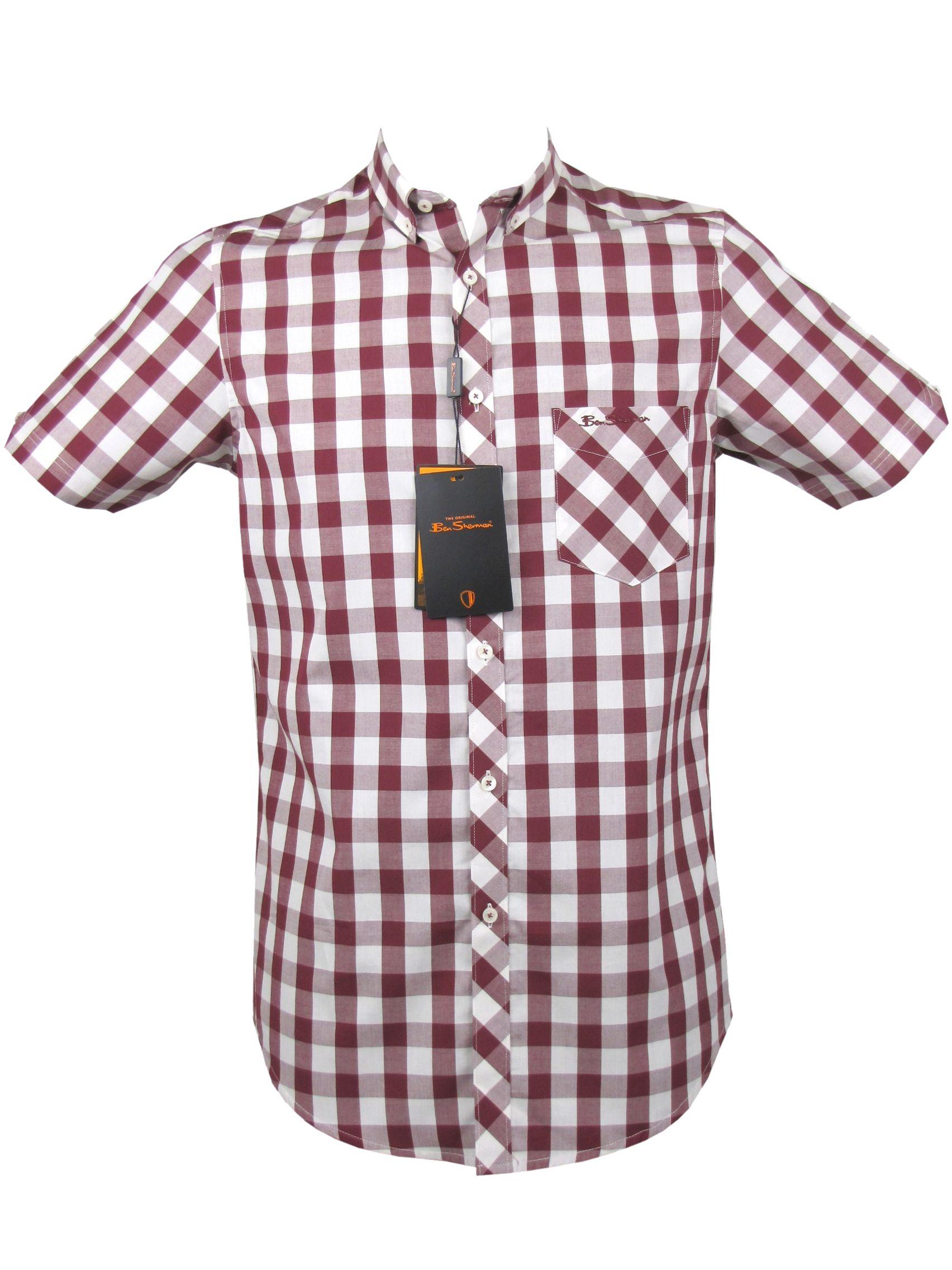 Mens Ben Sherman Shirt S S Mod Style Big Gingham Red Check