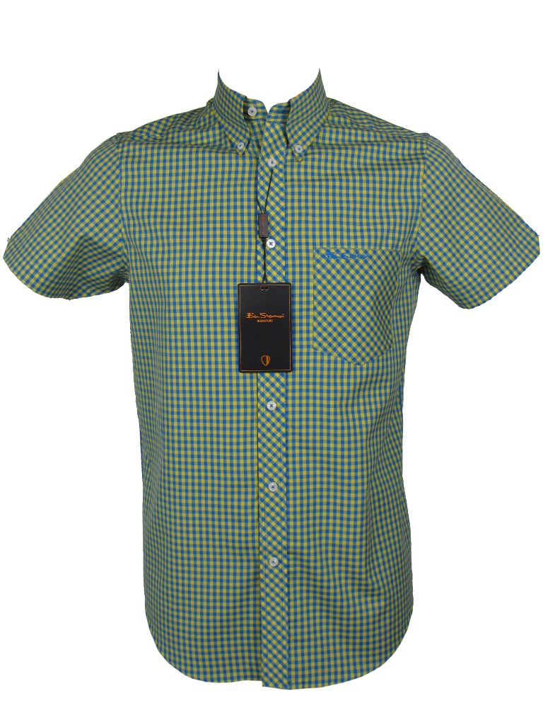 Ben sherman shirt s s mod style yellow gingham check ebay for Mens yellow gingham shirt
