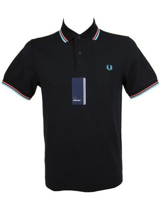 Mens Fred Perry Twin Tipped Polo T-Shirt S/S Black/Pink Preview