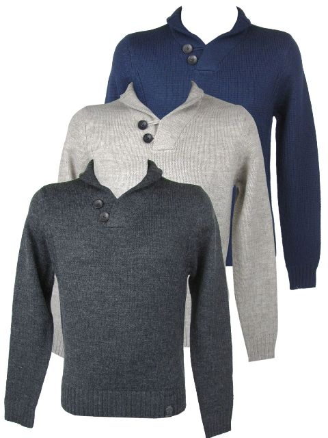 Mens Shawl Neck Jumper Wool Mix Beige, Navy or Grey Enlarged Preview