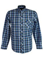 Mens Ben Sherman Shirt Long Sleeve Button Down Collar Blue Check