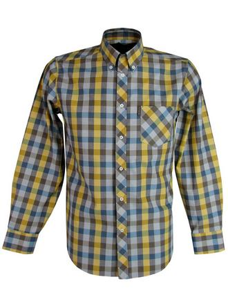 Mens Ben Sherman Shirt Long Sleeve Button Down Collar Brown/Mustard Check Preview