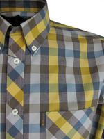 Mens Ben Sherman Shirt Long Sleeve Button Down Collar Brown/Mustard Check Thumbnail 2