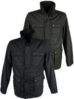 Mens Ben Sherman Military Jacket/ Coat Coated Cotton Black or Khaki Thumbnail 1