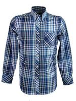 Mens Ben Sherman Shirt L/S Blue and White Check - Kingsize