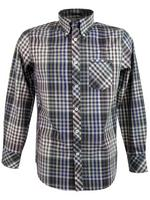 Mens Ben Sherman Shirt L/S Brown and Beige Check - Kingsize