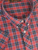 Ben Sherman Shirt S/S Red and Navy Check - Kingsize