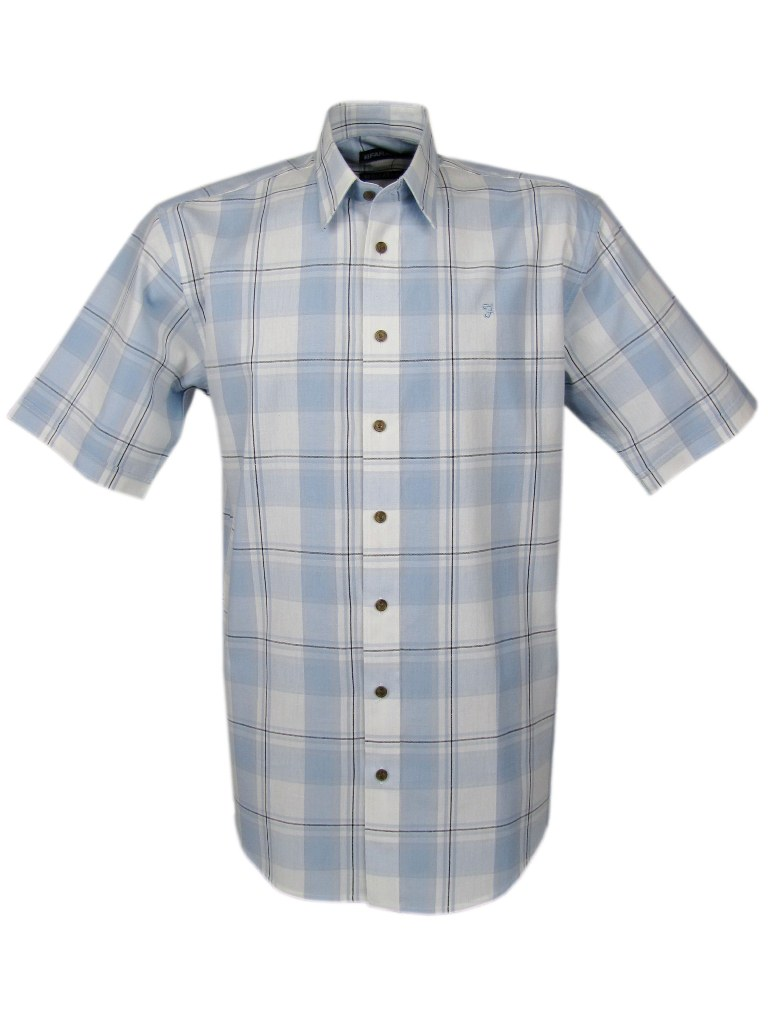 Mens Farah Casual Check Shirt Blue Short Sleeves Enlarged Preview