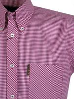 Mens Ben Sherman Shirt S/S Small Check Blue Retro Thumbnail 2
