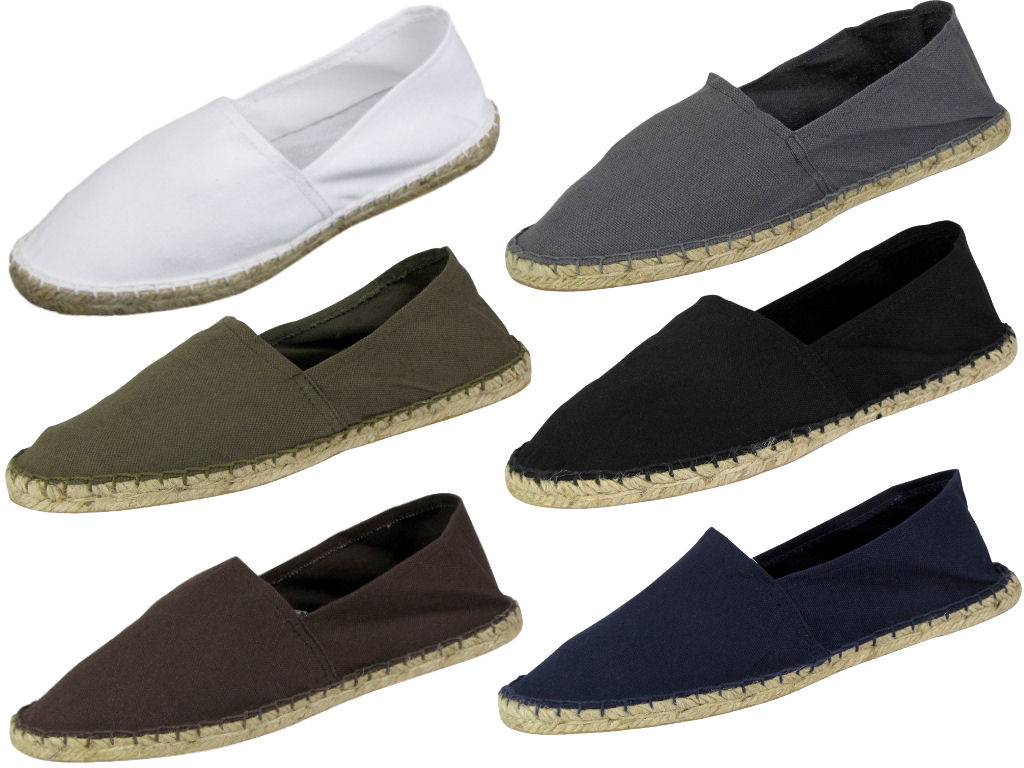 Mens-Canvas-Espadrilles-Plimsoll-Pumps-White-Khaki-Black-amp-Coal