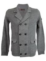 Mens Ben Sherman Shawl Neck Button Up Cardigan Jumper Wool Mix Grey Marl