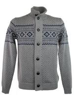 Mens Ben Sherman Fair Isle Cardigan/ Jumper Funnel Neck Slate Wool Mix Grey Marl