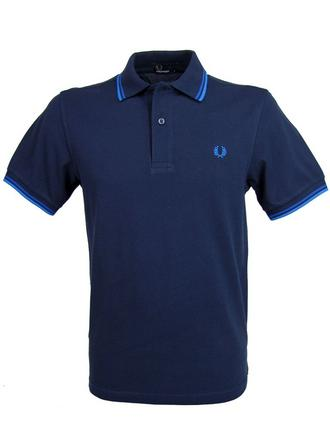 Mens Fred Perry Twin Tipped Pique Polo T-Shirt S/S Carbon Preview
