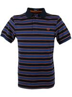 Mens Fred Perry Skinny Striped Striped Polo T-Shirt Navy