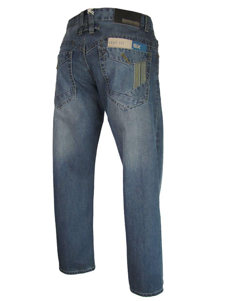 Mens-Lambretta-Jeans-Denim-Light-Wash-Twin-Stripe-Easy-Fit