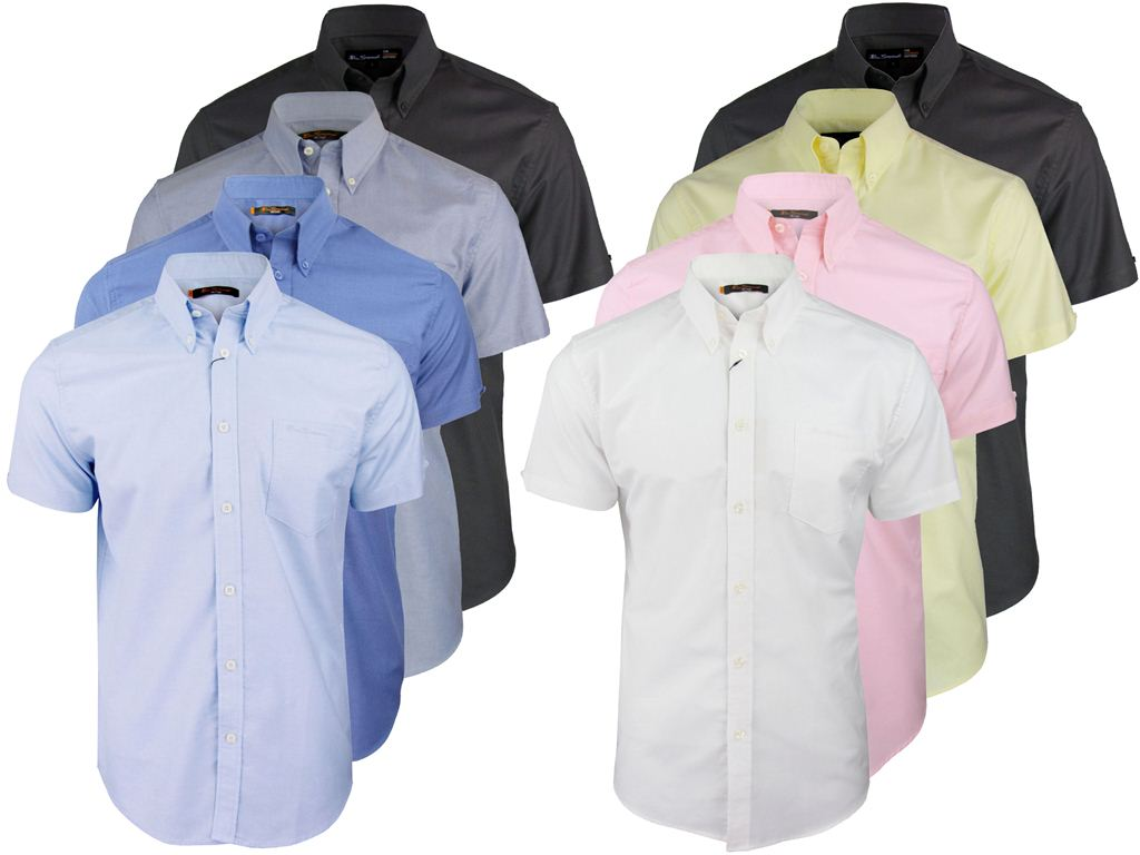 Mens Ben Sherman Classic 'Eton' Oxford Shirt Plain Short Sleeves Button Down Enlarged Preview