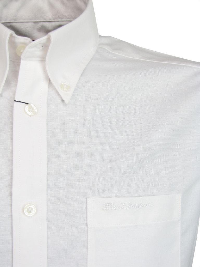 Mens ben sherman classic 39 eton 39 oxford shirt plain short for Mens short sleeve oxford shirt
